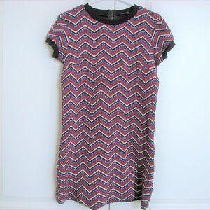 Zara Woman Stretch Knit Chevron Sweater Dress